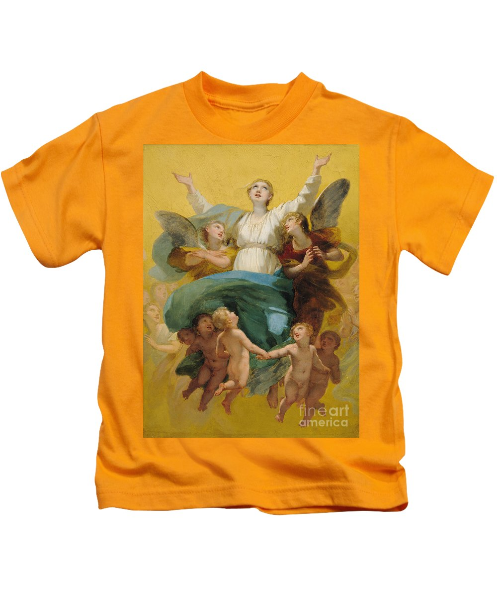 The Kids T-Shirt featuring the painting The Assumption Of The Virgin by Pierre Paul Prudhon