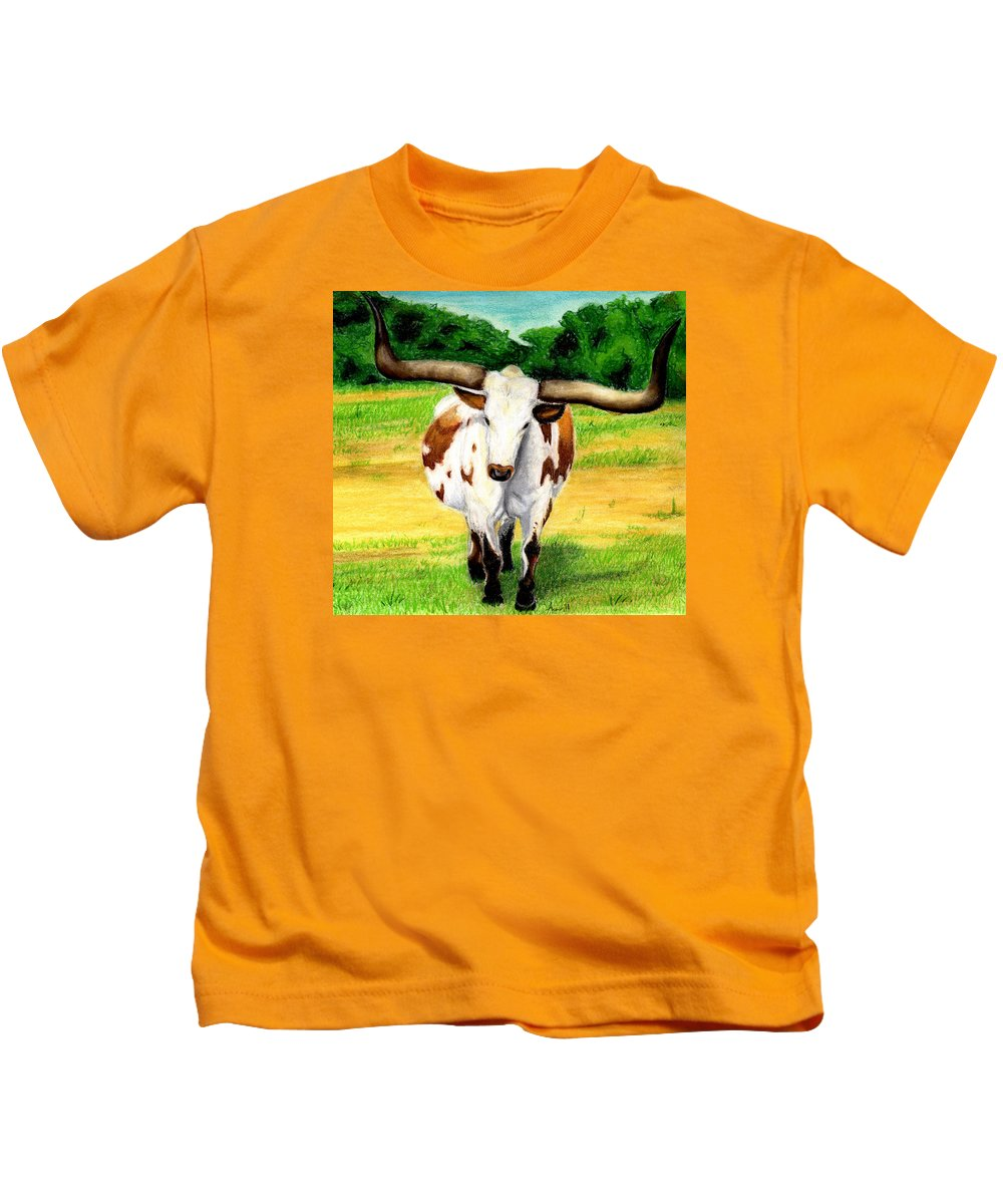Longhorn Kids T-Shirt featuring the pastel The Big Guy by Anna Katherine