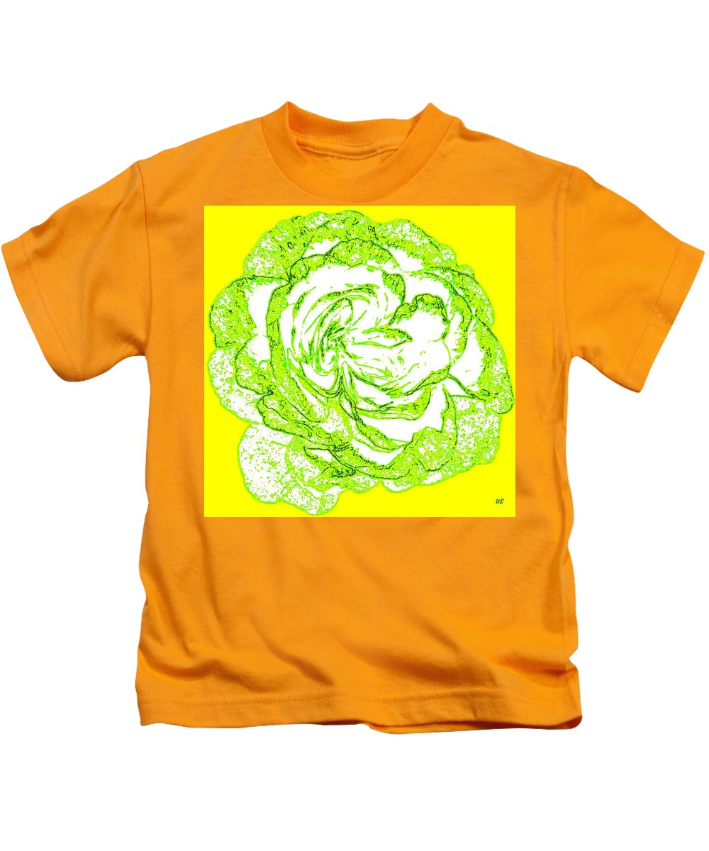 Abstract Kids T-Shirt featuring the digital art The Cabbage Rose by Will Borden