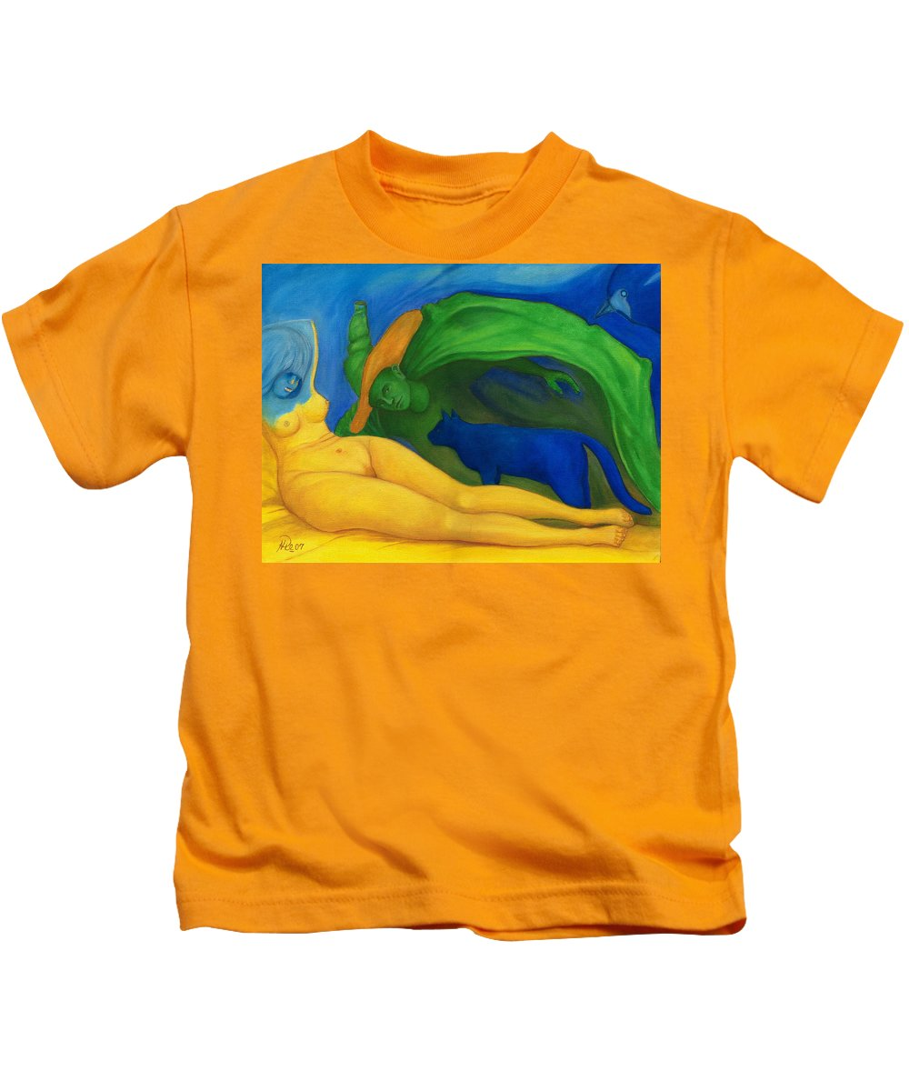 Surreal Kids T-Shirt featuring the painting The Day And Night. by Andrzej Pietal