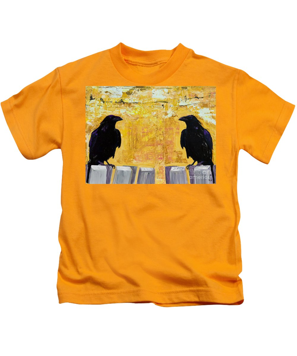 Abstract Realism Kids T-Shirt featuring the painting The Gossips by Pat Saunders-White