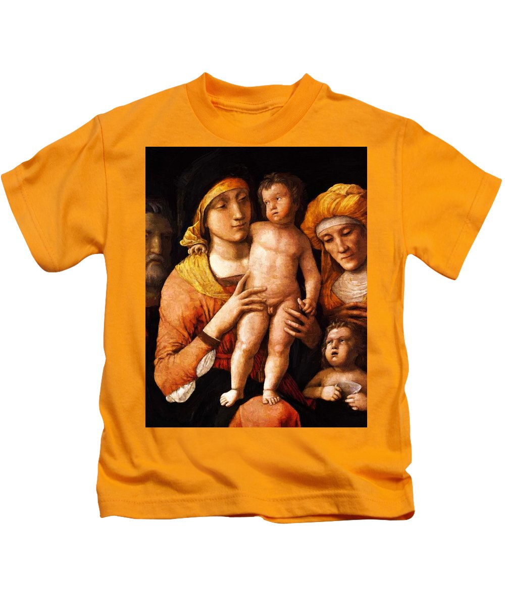 The Kids T-Shirt featuring the painting The Holy Family With St Elizabeth And St John The Baptist 1505 by Mantegna Andrea
