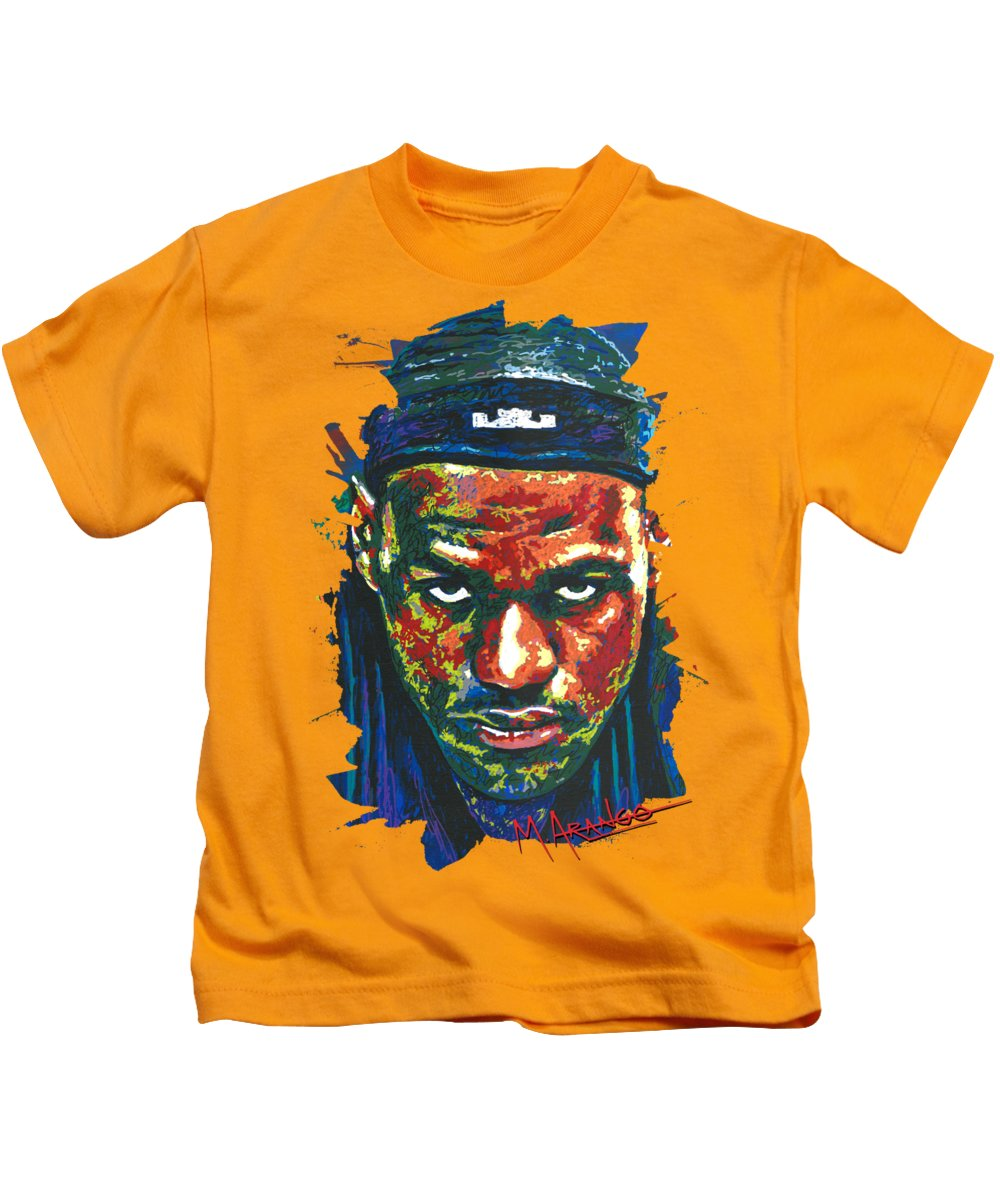 Lebron Kids T-Shirt featuring the painting The Lebron Death Stare by Maria Arango