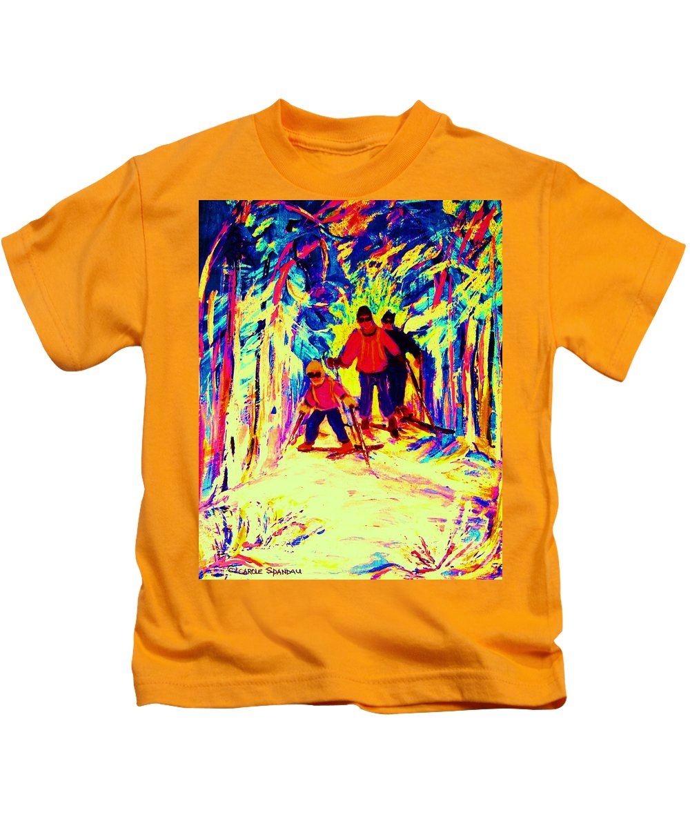 Skis Kids T-Shirt featuring the painting The Magical Skis by Carole Spandau