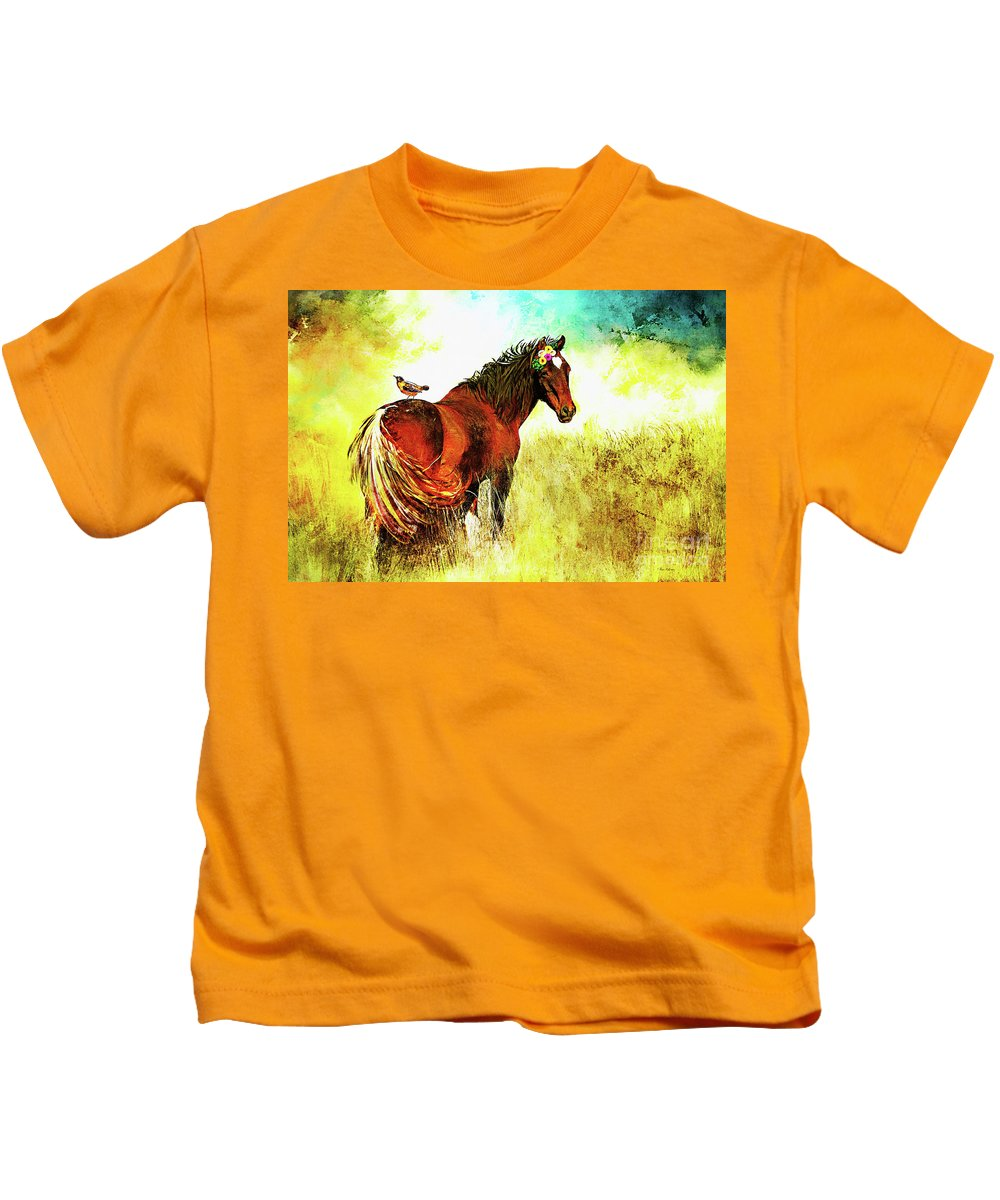 Horse Kids T-Shirt featuring the digital art The Marvelous Mare by Tina LeCour