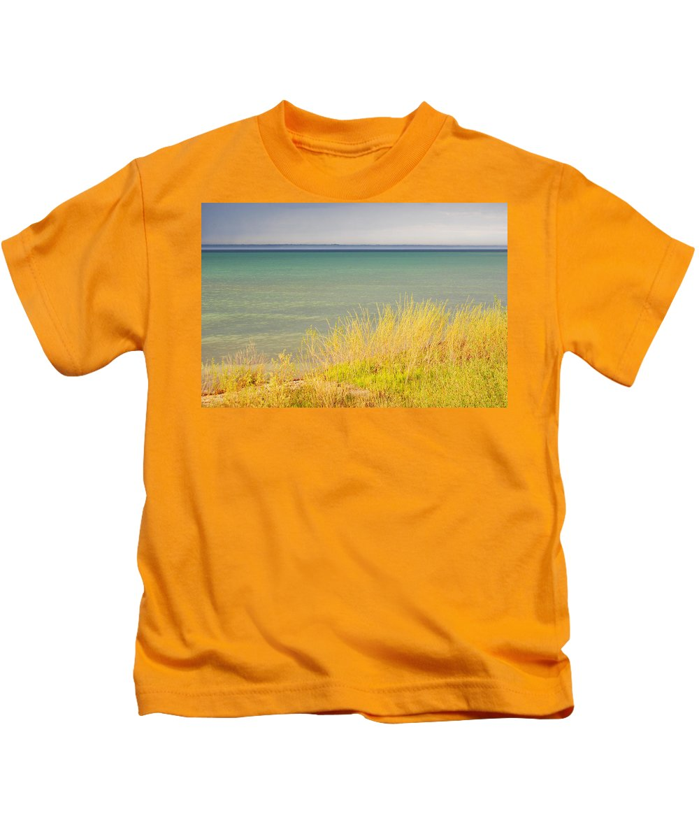 Weather Kids T-Shirt featuring the photograph weather ,storm,weather ,clouds ,cloudy ,blue ,skies ,water, marine,beach, marine, cottage, Michigan, by Marysue Ryan