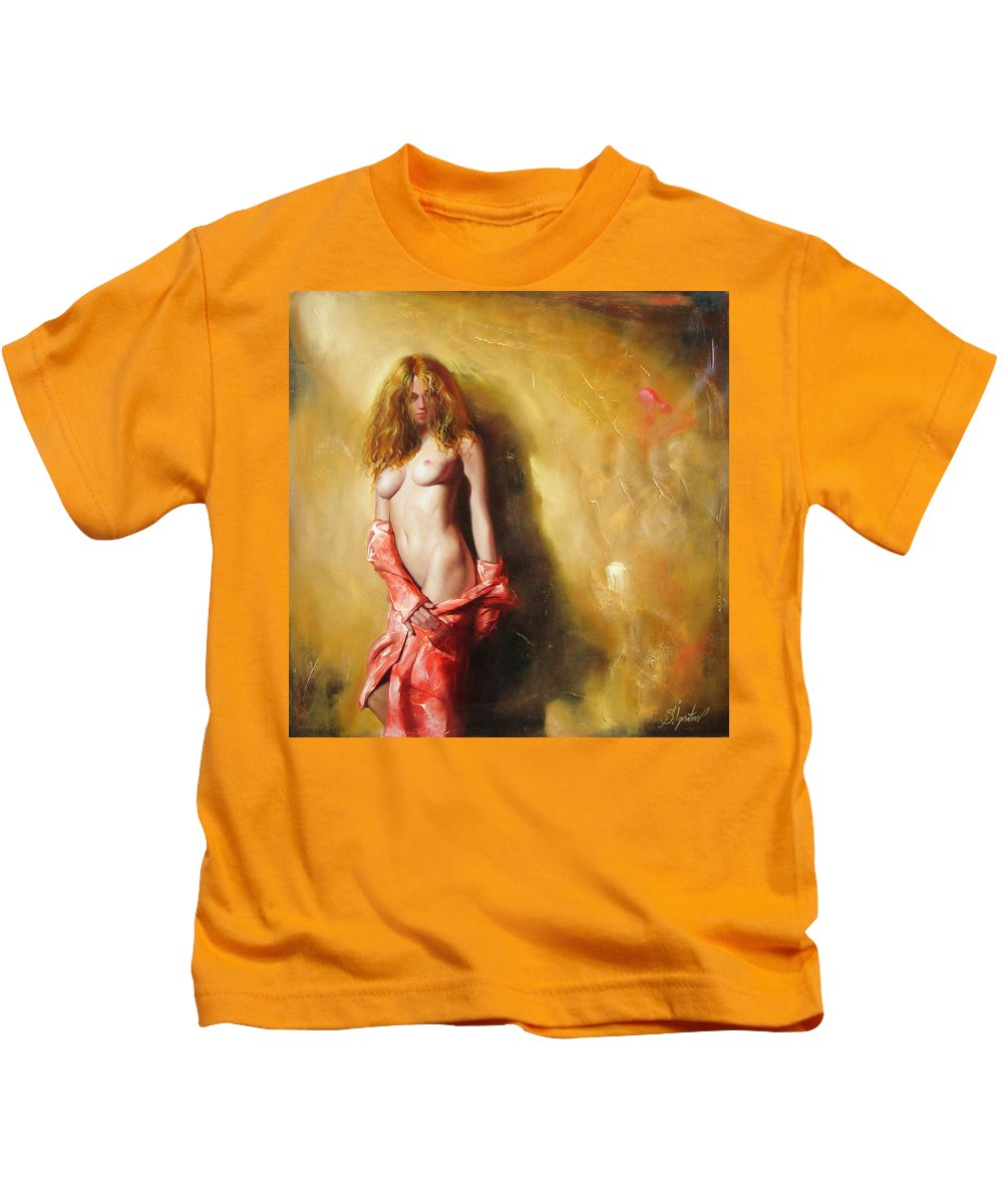 Art Kids T-Shirt featuring the painting The sun in red by Sergey Ignatenko