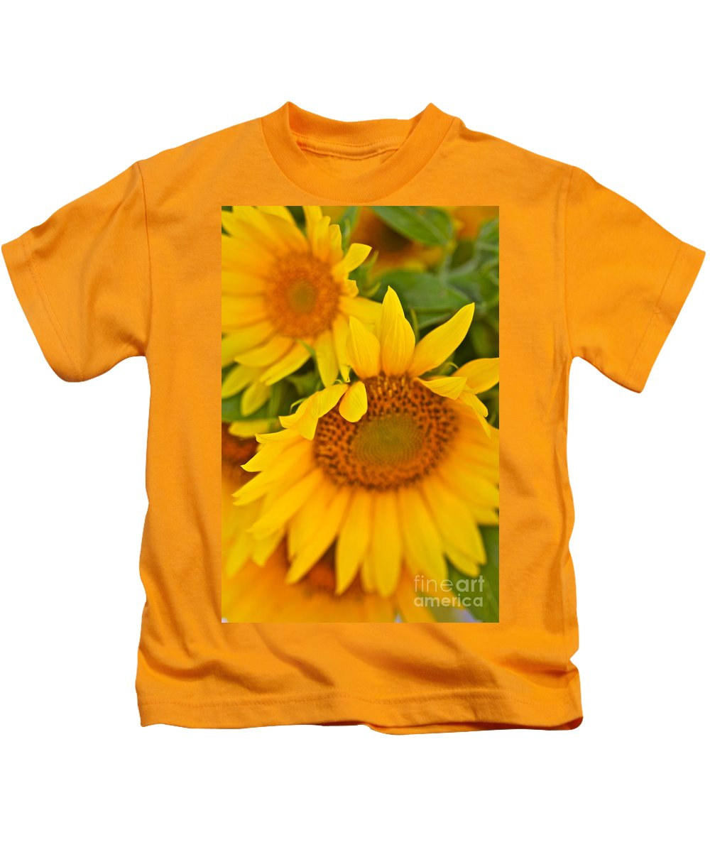 Yellow Kids T-Shirt featuring the photograph Three Sunflowers by Nadine Rippelmeyer