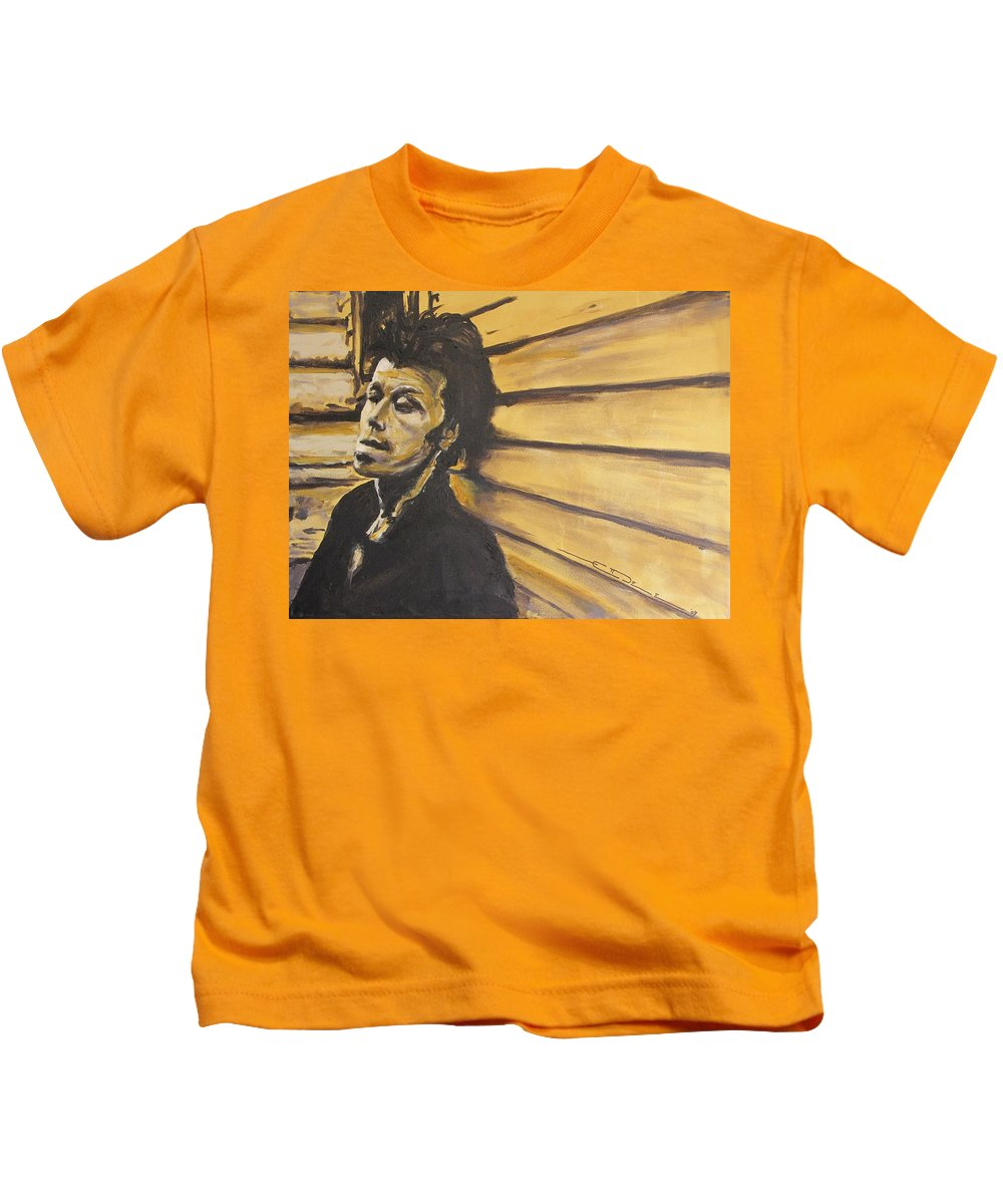 Tom Waits Kids T-Shirt featuring the painting Tom Waits by Eric Dee