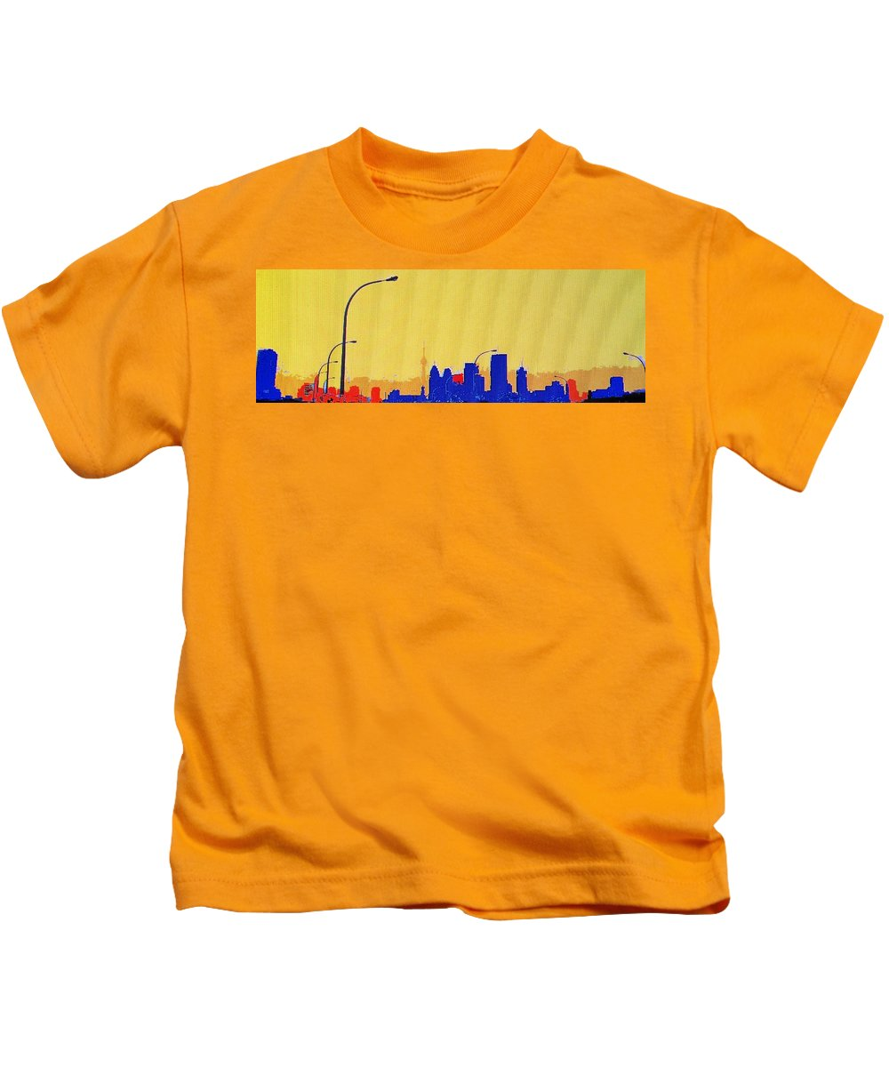 Toronto Kids T-Shirt featuring the photograph Toronto Lemon Skyline by Ian MacDonald