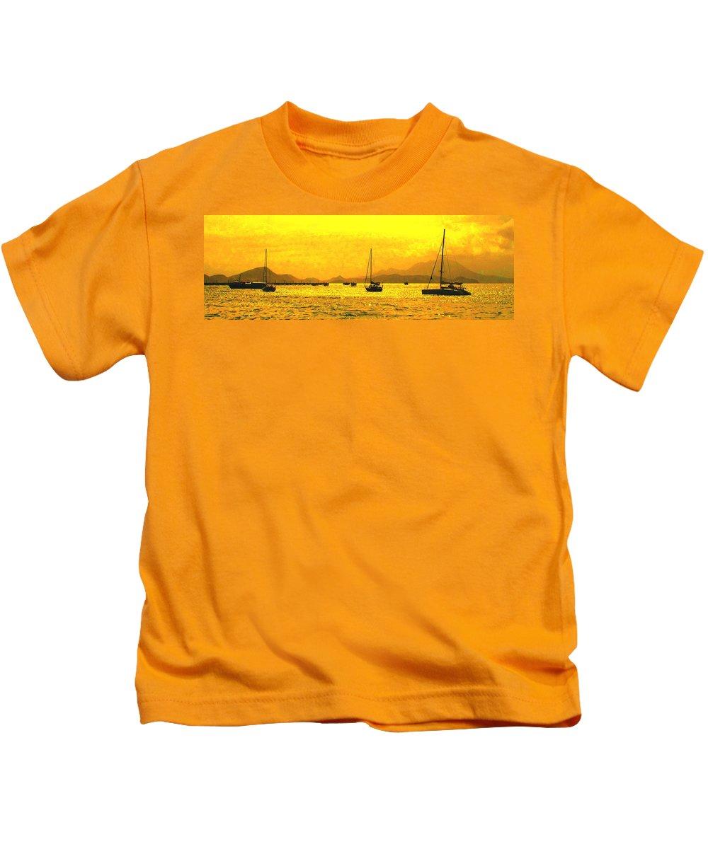 Basseterre Kids T-Shirt featuring the photograph Towards Nevis by Ian MacDonald