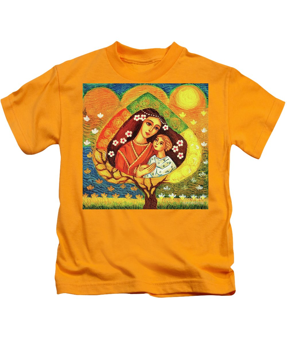 Mother And Child Kids T-Shirt featuring the painting Tree Of Life II by Eva Campbell