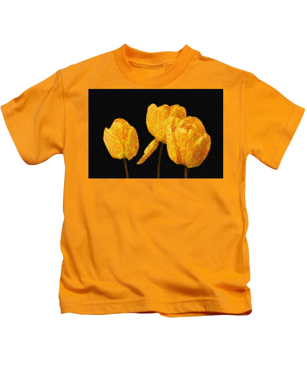 Spring Kids T-Shirt featuring the painting Tulips - Id 16235-220512-0422 by S Lurk
