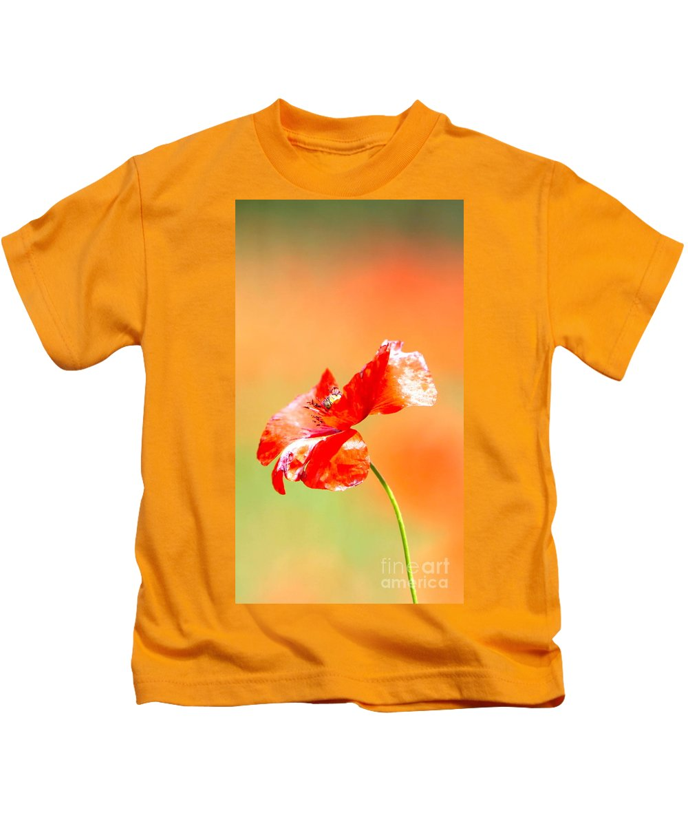 Poppy Kids T-Shirt featuring the photograph Tuscan Poppy by Nadine Rippelmeyer