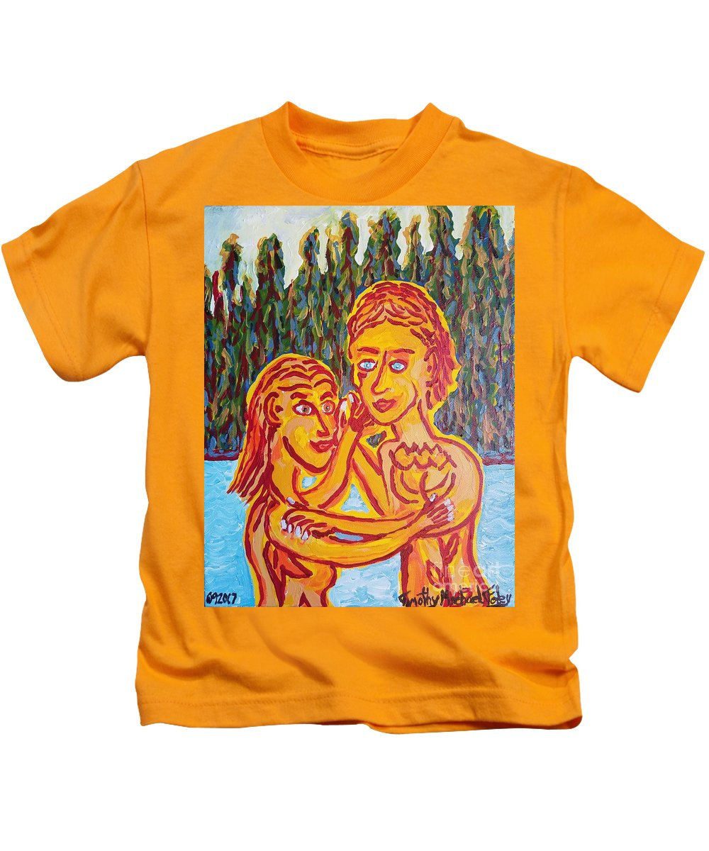 Man Kids T-Shirt featuring the painting Two By Two by Timothy Michael Foley