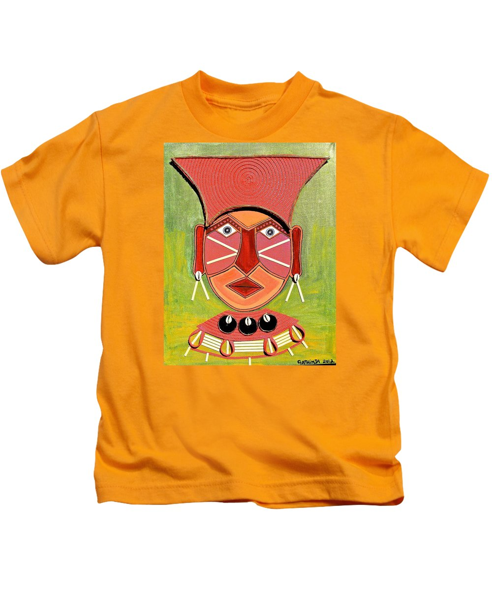 True African Art Kids T-Shirt featuring the painting Uso 7 by Gathinja