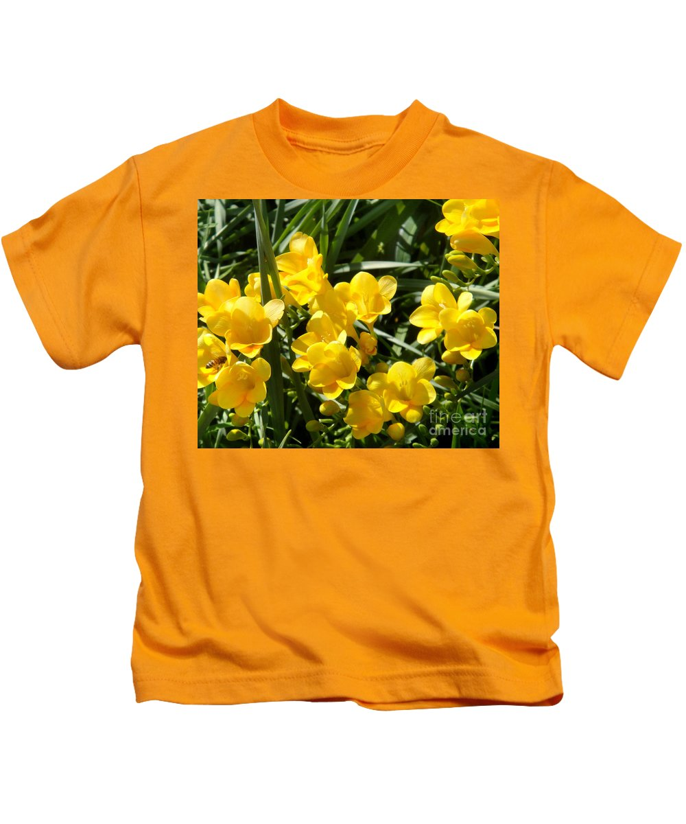 Yellow Kids T-Shirt featuring the photograph Very Sunny Yellow Flowers by Sofia Metal Queen