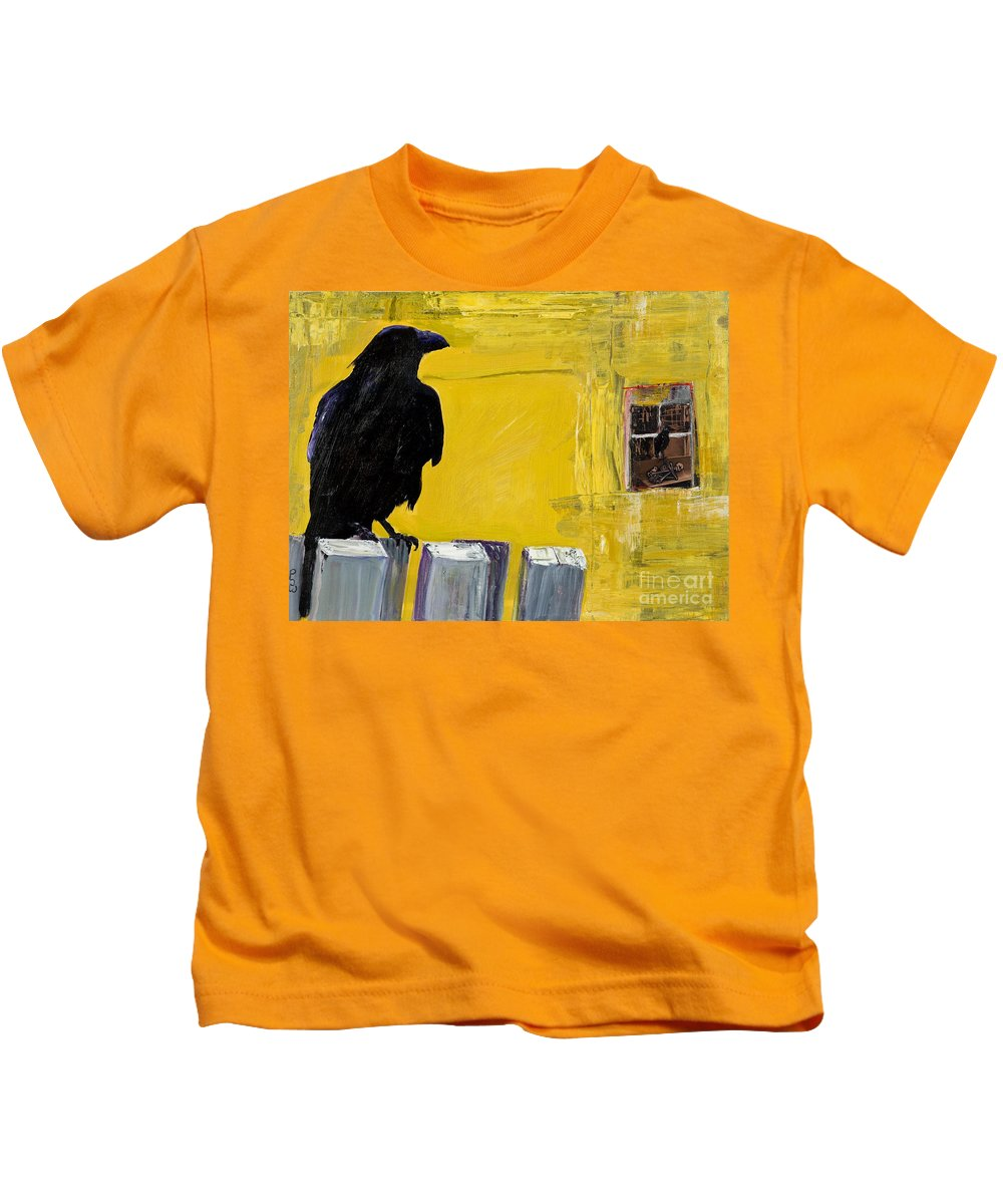 Pat Saunders-white Canvas Prints Kids T-Shirt featuring the painting Watching by Pat Saunders-White