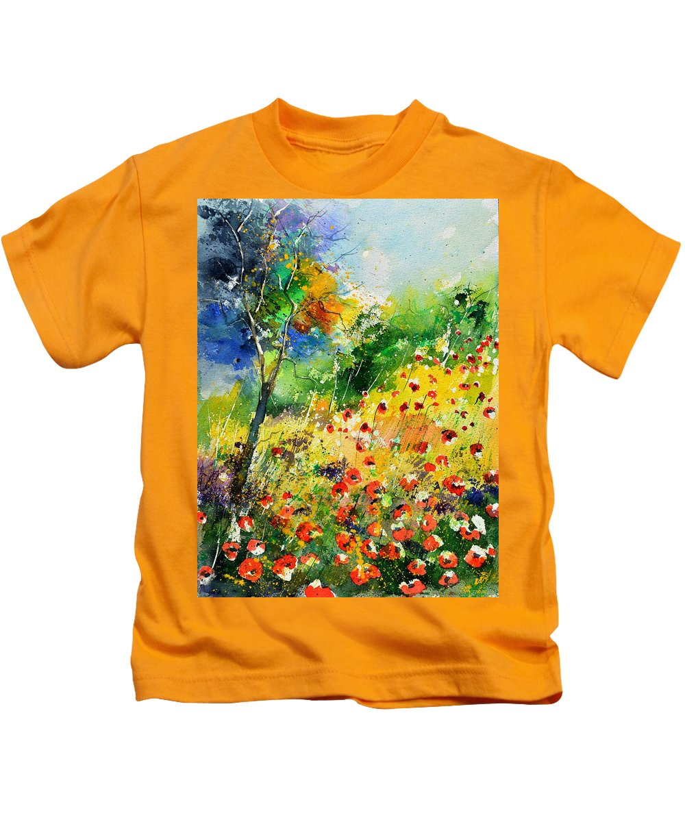 Poppies Kids T-Shirt featuring the painting Watercolor poppies 518001 by Pol Ledent