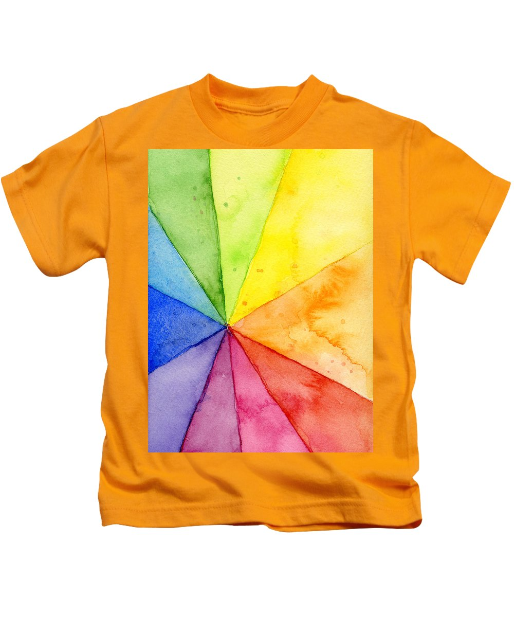 Watercolor Kids T-Shirt featuring the painting Watercolor Rainbow Beachball Pattern by Olga Shvartsur