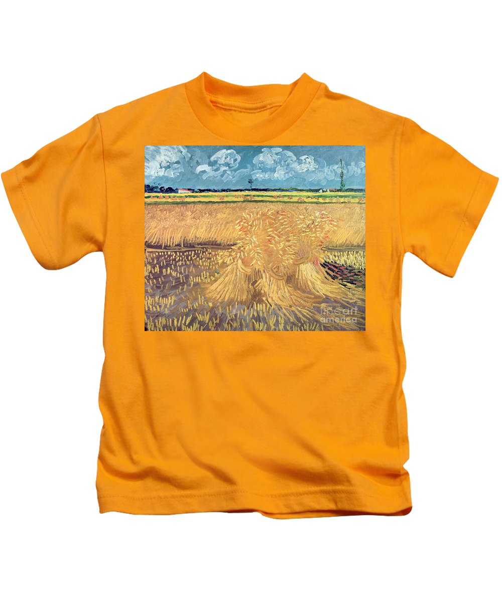 Wheatfield Kids T-Shirt featuring the painting Wheatfield With Sheaves by Vincent van Gogh