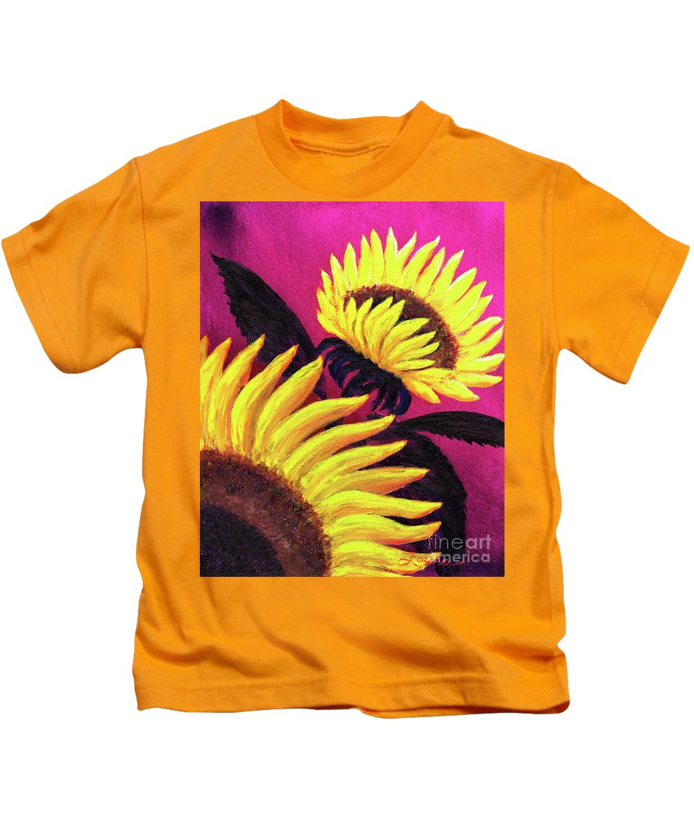 Sunflowers Kids T-Shirt featuring the painting Wild Sunflowers by Laura Iverson
