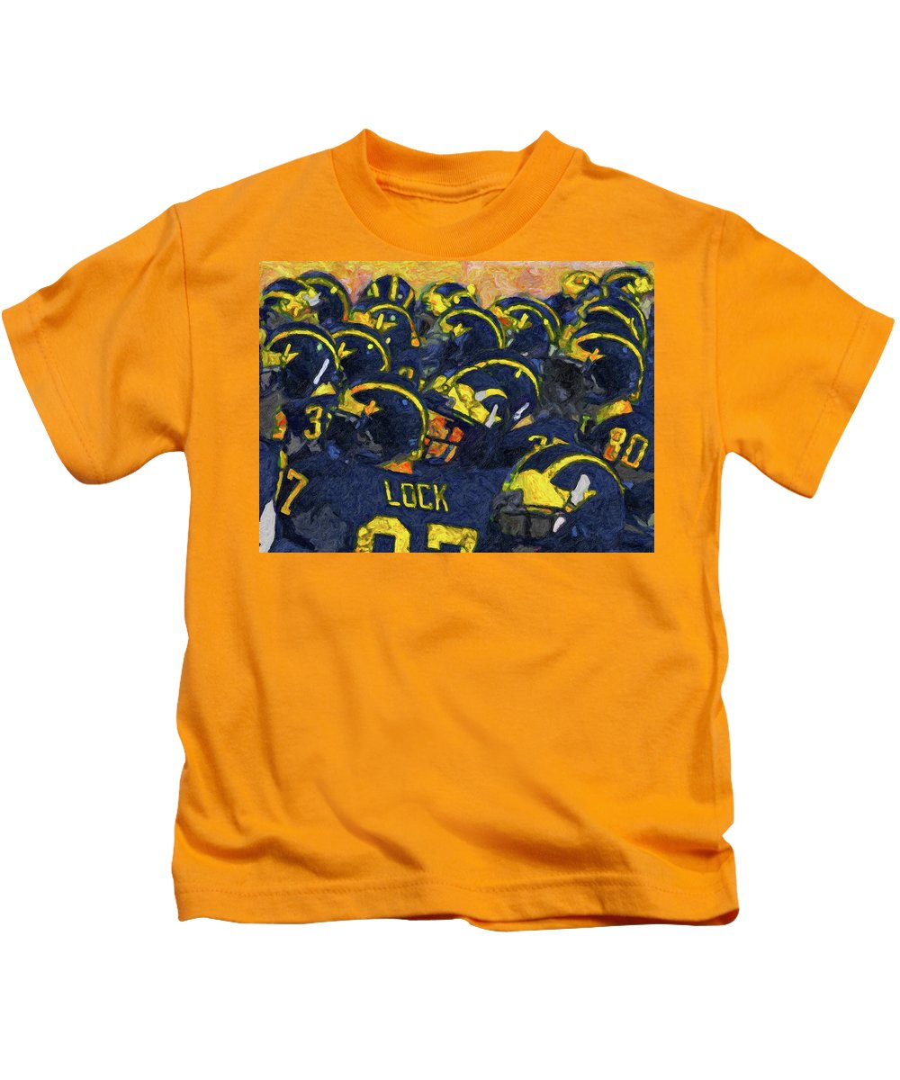 University Of Michigan Kids T-Shirt featuring the painting Winged Warriors by John Farr