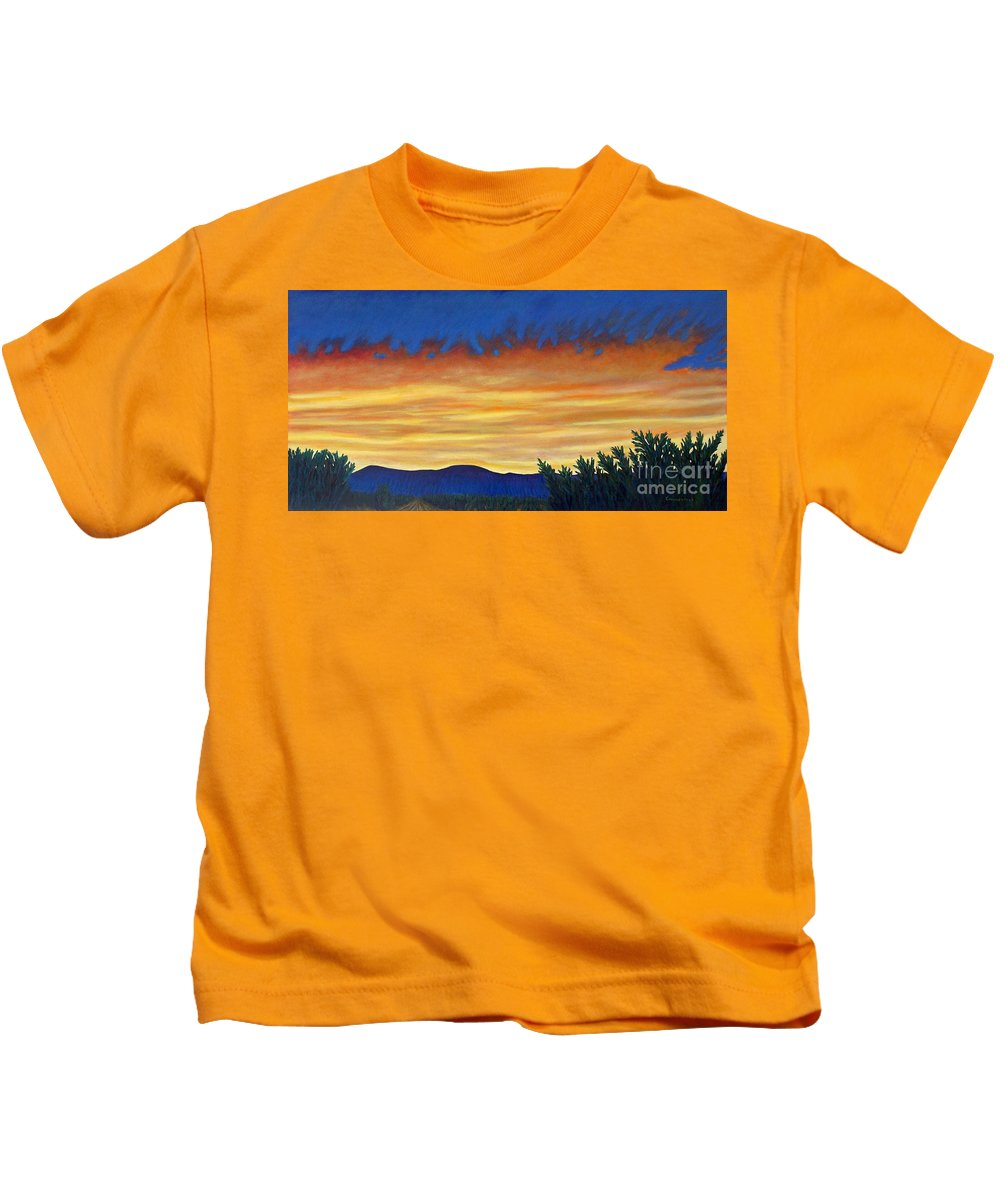 Sunset Kids T-Shirt featuring the painting Winter Sunset In El Dorado by Brian Commerford