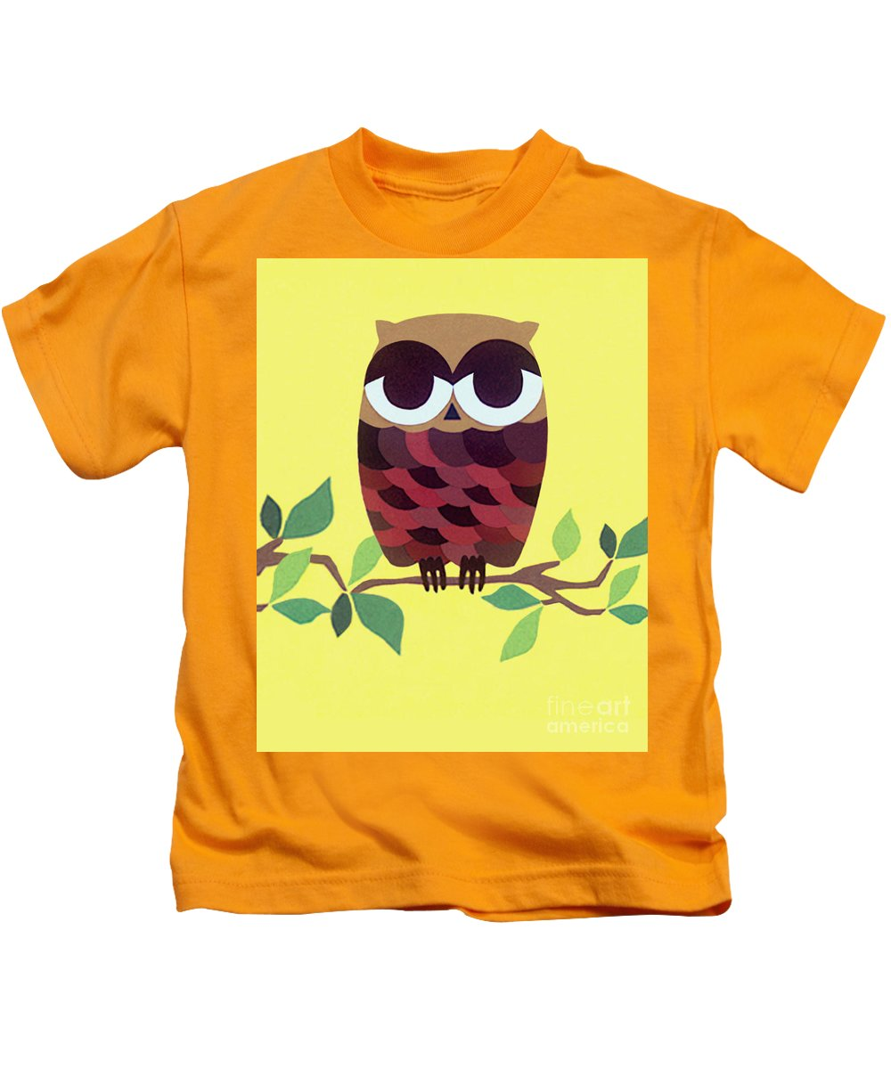 Nature Kids T-Shirt featuring the drawing Wise Owl by Lucyna A M Green