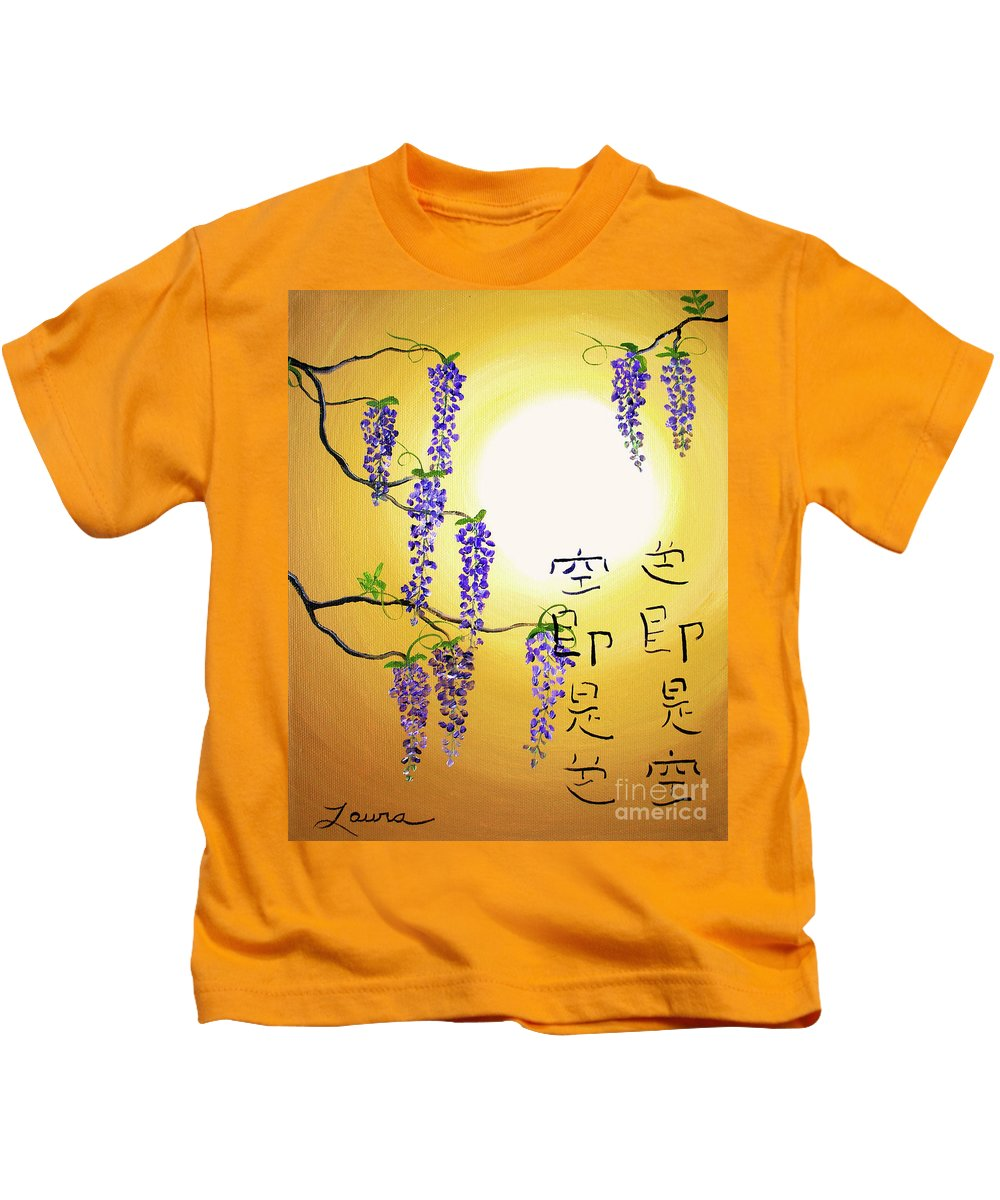 Wisteria Kids T-Shirt featuring the painting Wisteria With Heart Sutra by Laura Iverson