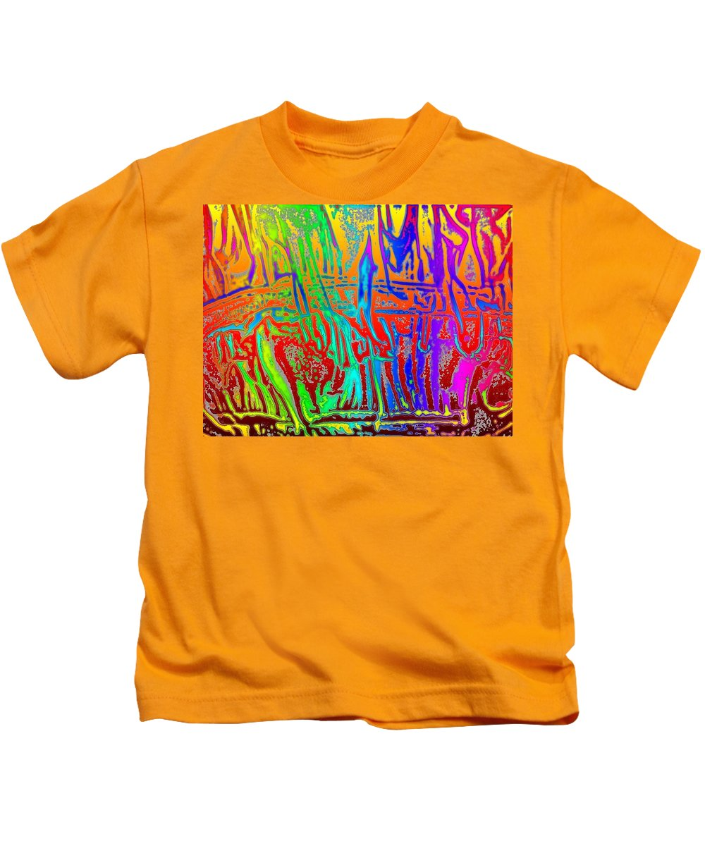 Wood Kids T-Shirt featuring the photograph Wood Fire Rainbow by Tim Allen