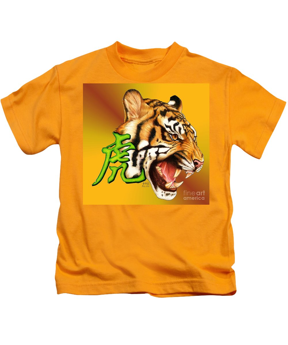 Tiger Kids T-Shirt featuring the drawing Year Of The Tiger by Sheryl Unwin