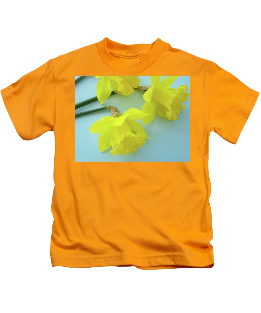 �daffodils Artwork� Kids T-Shirt featuring the photograph Yellow Daffodils Artwork Spring Flowers Art Prints Nature Floral Art by Baslee Troutman