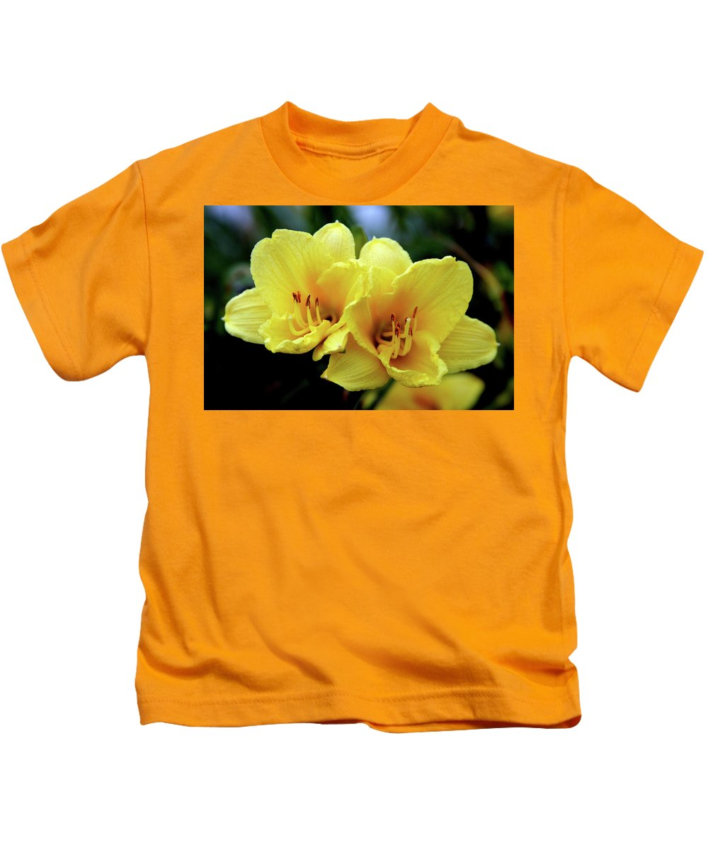 Yellow Daylilies Kids T-Shirt featuring the photograph Yellow Daylilly 0204 H_2 by Steven Ward