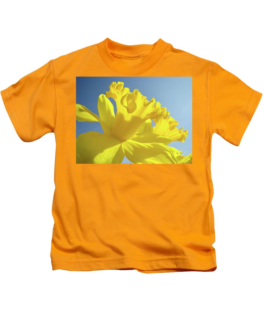 Flower Kids T-Shirt featuring the photograph Yellow Flower Floral Daffodils Art Prints Spring Blue Sky Baslee Troutman by Baslee Troutman