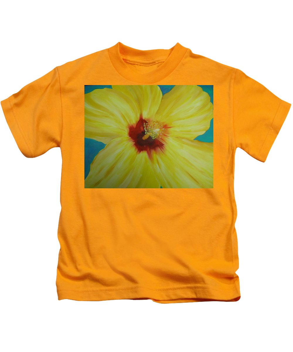 Flower Kids T-Shirt featuring the print Yellow Hibiscus by Melinda Etzold