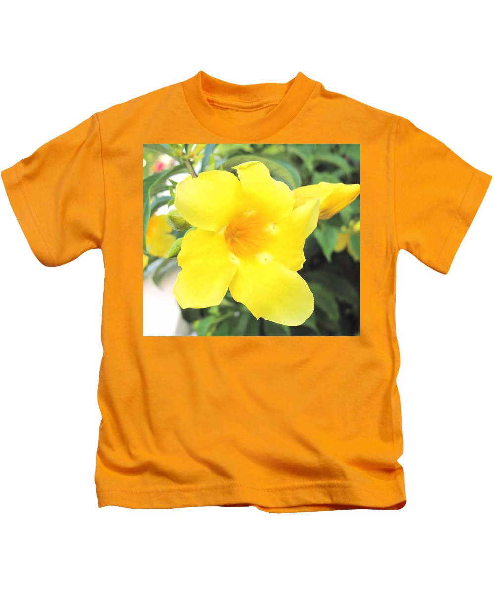 Yellow Kids T-Shirt featuring the photograph Yellow Hibiscus St Kitts by Ian MacDonald