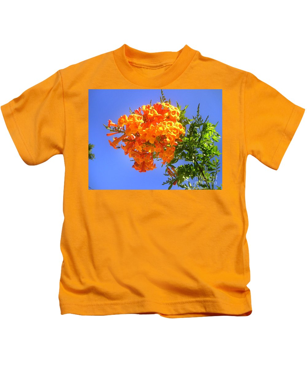 Bell Flower Kids T-Shirt featuring the photograph Yellow-orange Horn Flowers 01 by Sofia Metal Queen