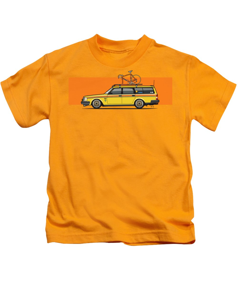 Yellow Volvo 245 Wagon With Bike Square Graphic: Yellow Volvo 245 Wagon With Roof Rack And Vintage Bicycle