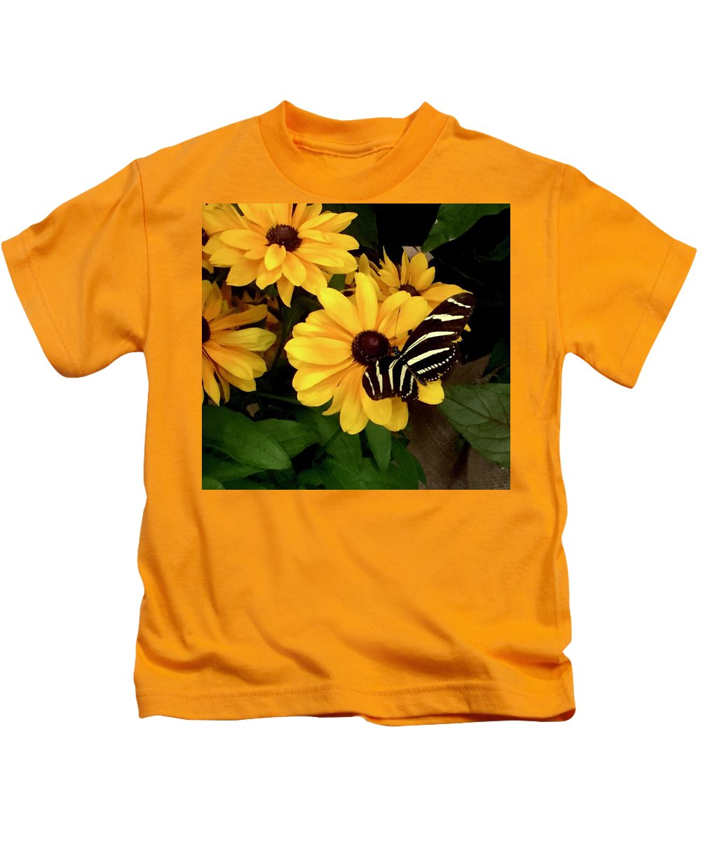 Butterfly Zebra Longwing Garden Sipping Stripes Black Brown White Nature Portrait Flower Gold Green Kids T-Shirt featuring the photograph Zebra Longwing by Alida M Haslett