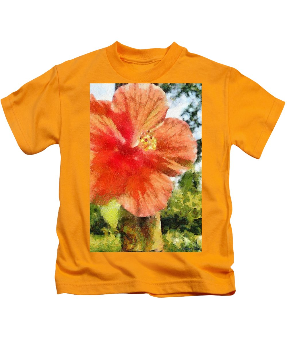 Zoo Kids T-Shirt featuring the painting Zoo Flower by Jeffrey Kolker