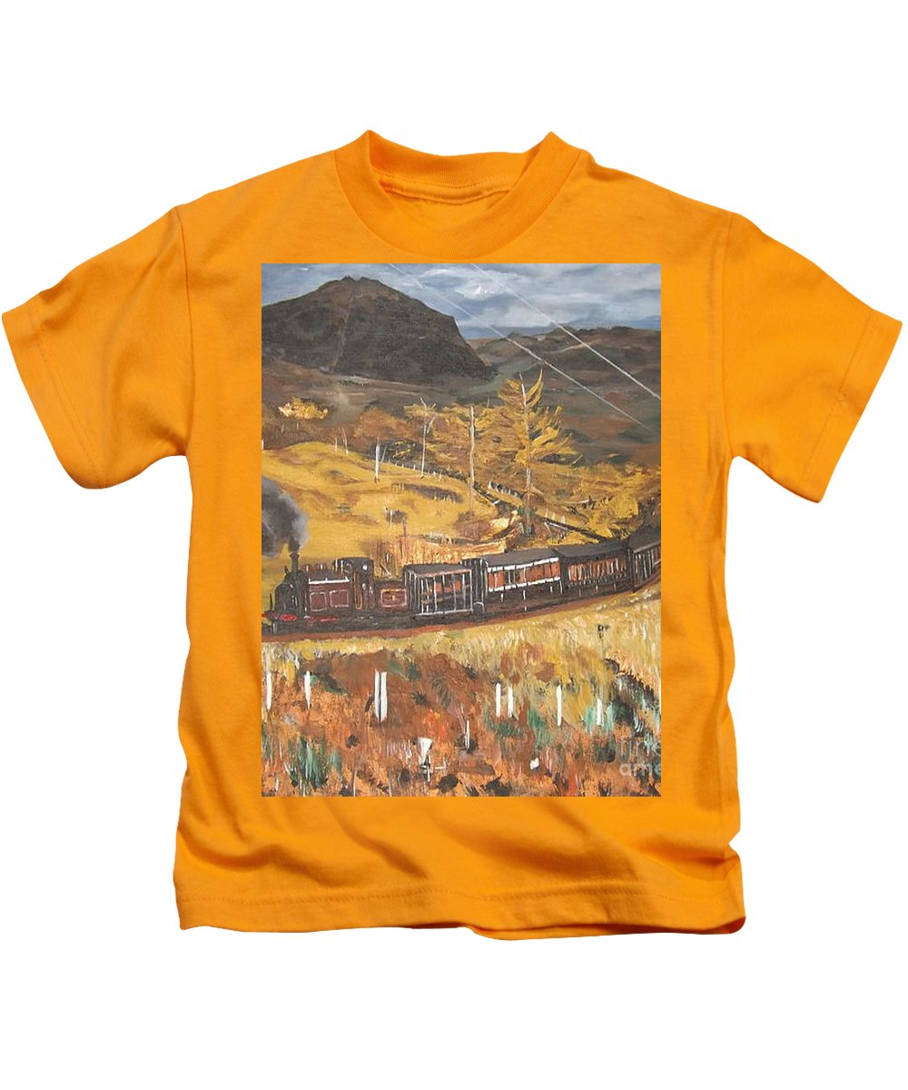 Landscape Kids T-Shirt featuring the painting Black Mountain by Denise Morgan