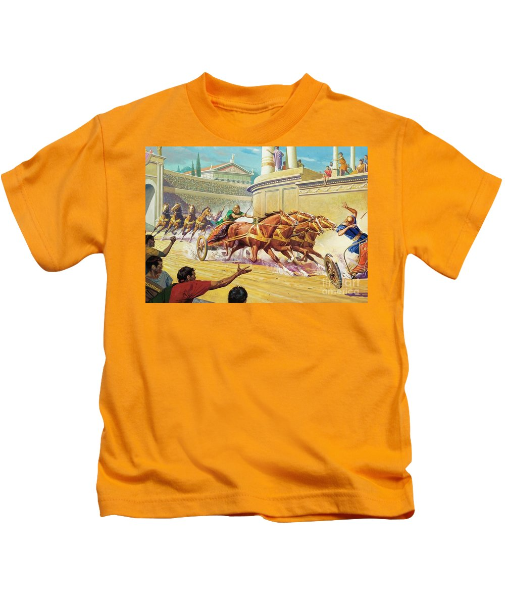 Chariot Race Kids T-Shirt featuring the painting Chariot Race At The Circus Maximus by Severino Baraldi