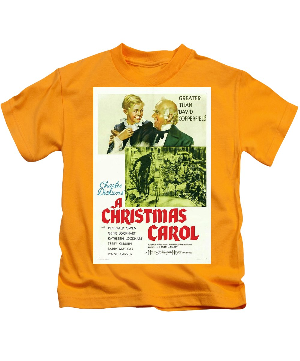 Christmas Kids T-Shirt featuring the painting Classic Movie Poster - A Christmas Carol by Esoterica Art Agency