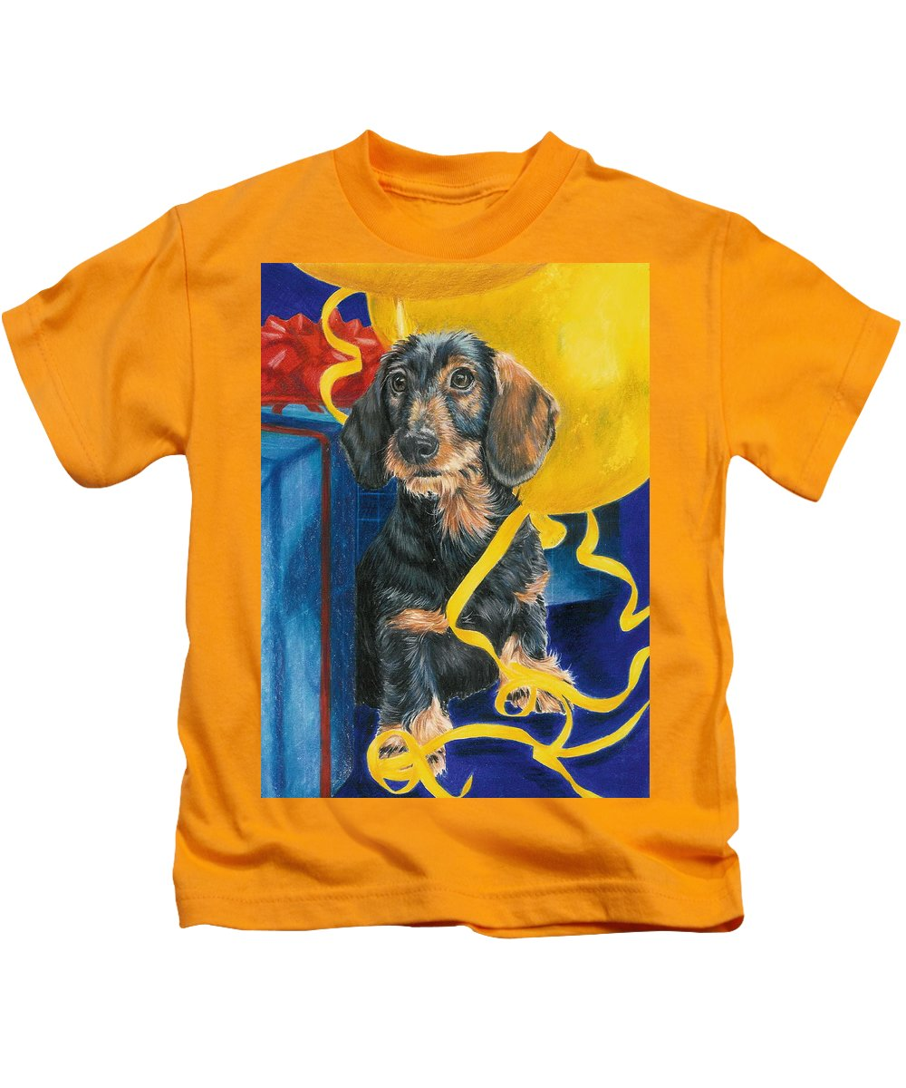 Dogs Kids T-Shirt featuring the drawing Happy Happy Birthday Baby by Barbara Keith