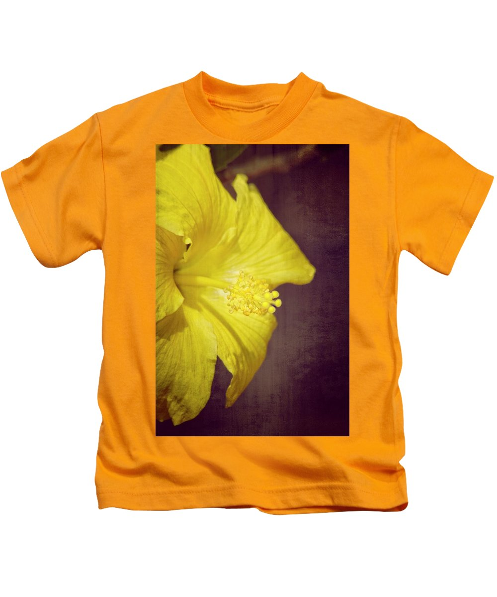 Hibiscus Kids T-Shirt featuring the photograph Hibiscus Yellow by Carolyn Marshall