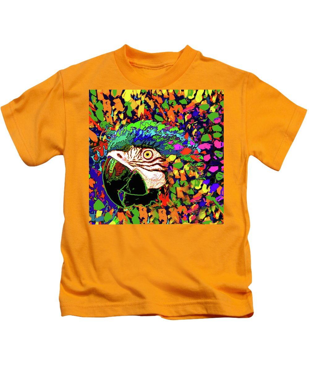 Kids T-Shirt featuring the digital art Macaw High I by Rafael Serur