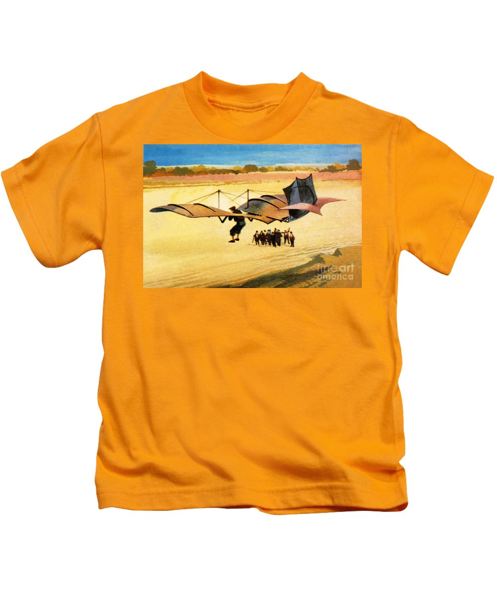 Early Aviation Kids T-Shirt featuring the painting Otto Lilienthal by Ferdinando Tacconi
