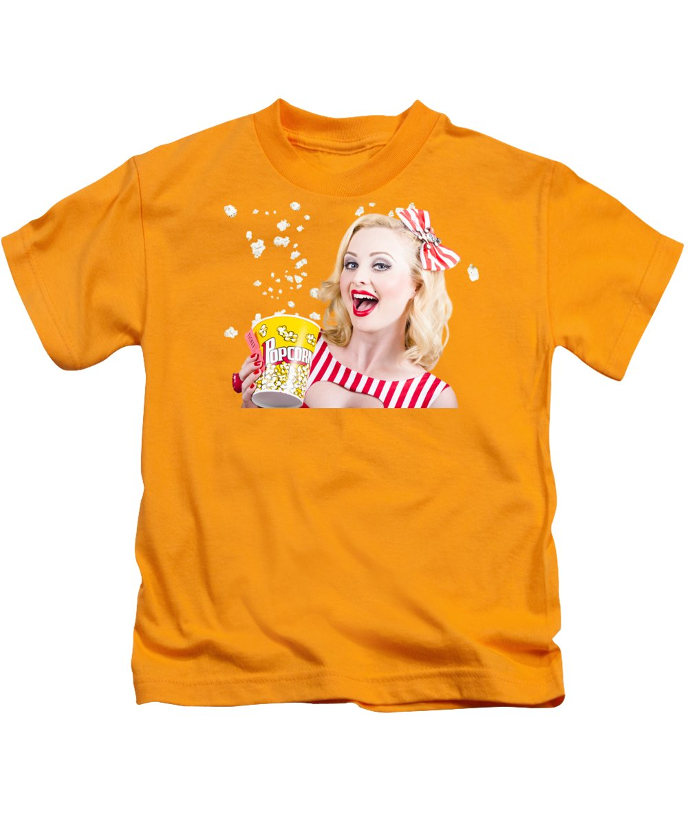 Movie Kids T-Shirt featuring the photograph Retro Girl Taking Popcorn To Cinema by Jorgo Photography - Wall Art Gallery