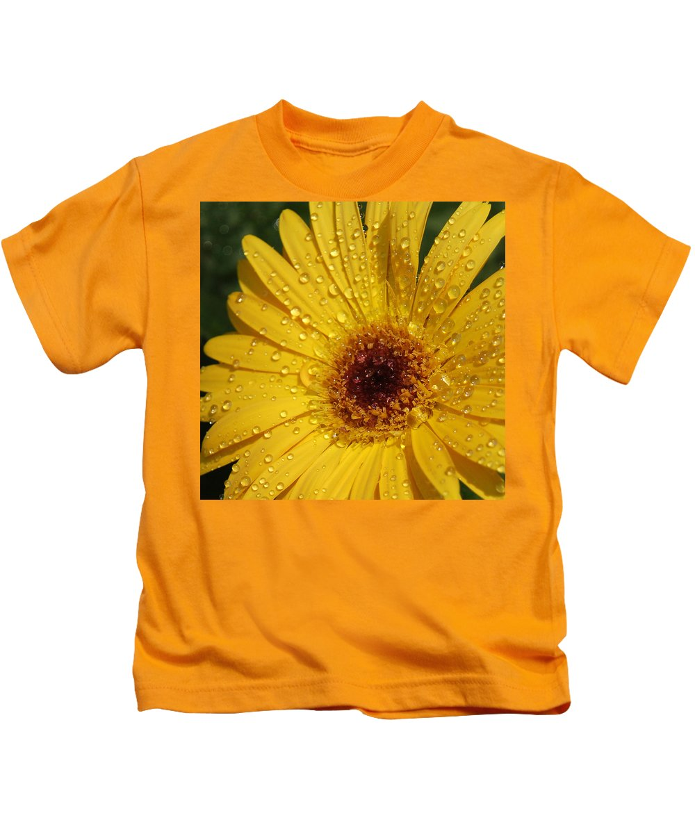 Yellow Kids T-Shirt featuring the photograph Yellow Gerbera by Suzanne Gaff